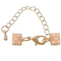Brass Lobster Claw Cord Clasp, with 2lnch extender chain, rose gold color plated, nickel, lead & cadmium free, 30x7mm, 200PCs/Lot, Sold By Lot