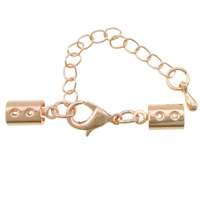 Brass Lobster Claw Cord Clasp, with 2lnch extender chain, rose gold color plated, nickel, lead & cadmium free, 35x5mm, 200PCs/Lot, Sold By Lot
