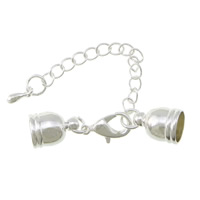 Brass Lobster Claw Cord Clasp, silver color plated, with end cap, nickel, lead & cadmium free, 8x5mm, 30mm, Inner Diameter:Approx 4mm, 200PCs/Lot, Sold By Lot
