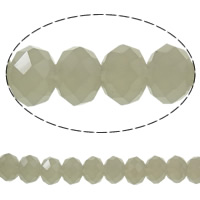 Imitation CRYSTALLIZED™ Element Crystal Beads, Rondelle, faceted & imitation CRYSTALLIZED™ crystal, Greige, 8x6mm, Hole:Approx 1mm, Length:Approx 17.7 Inch, 10Strands/Bag, Approx 70PCs/Strand, Sold By Bag