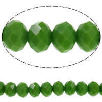 Imitation CRYSTALLIZED™ Element Crystal Beads, Rondelle, faceted & imitation CRYSTALLIZED™ crystal, Peridot, 10x8mm, Hole:Approx 1mm, Length:Approx 21.2 Inch, 10Strands/Bag, Approx 70PCs/Strand, Sold By Bag