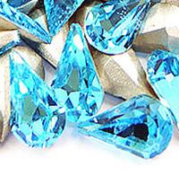 Стразы клеевые, Кристаллы, Каплевидная форма, плакирован серебром, граненый, аквамарин, 8x13mm, 288ПК/сумка, продается сумка