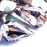 Стразы клеевые, Кристаллы, Каплевидная форма, плакирован серебром, граненый, винтажный розовый, 8x13mm, 288ПК/сумка, продается сумка