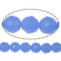 Natural Blue Agate Beads, Round, faceted, 10mm, Hole:Approx 2mm, Length:Approx 15 Inch, 20Strands/Lot, 25PCs/Strand, Sold By Lot
