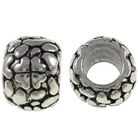 Zinc Alloy European Beads, Drum, antique silver color plated, with heart pattern & without troll, nickel, lead & cadmium free, 10x7.5mm, Hole:Approx 5mm, 10PCs/Bag, Sold By Bag