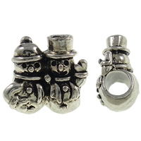 European Christmas Beads, Zinc Alloy, Snowman, antique silver color plated, without troll, nickel, lead & cadmium free, 14x14x9mm, Hole:Approx 4.5mm, Sold By PC