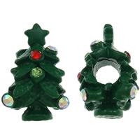 Pandor Kerst Kralen, Zinc Alloy, Kerstboom, geschilderd, zonder troll & met strass, groen, nikkel, lood en cadmium vrij, 18x11mm, Gat:Ca 4.5mm, 10pC's/Bag, Verkocht door Bag