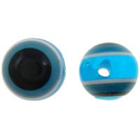 Koraliki z żywicy Zło Eye, żywica, Koło, pasek, błękit, 8mm, otwór:około 2mm, 1000komputery/torba, sprzedane przez torba