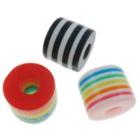 Żywica pasiasty perełki, żywica, Kolumna, pasek, mieszane kolory, 8x8.5mm, otwór:około 4mm, 1000komputery/torba, sprzedane przez torba