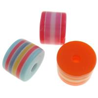 Żywica pasiasty perełki, żywica, Kolumna, pasek, mieszane kolory, 8x6mm, otwór:około 2mm, 1000komputery/torba, sprzedane przez torba