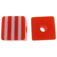 Żywica pasiasty perełki, żywica, Kostka, pasek, czerwony, 8x7x8mm, otwór:około 2mm, 1000komputery/torba, sprzedane przez torba