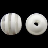 Żywica pasiasty perełki, żywica, Koło, pasek, biały, 8mm, otwór:około 2mm, 1000komputery/torba, sprzedane przez torba