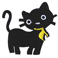 Żelaza na poprawki, Sukno, Kot, czarny, 50x50mm, 100komputery/wiele, sprzedane przez wiele