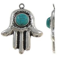 Zinklegering Hamsa Hangers, Zinc Alloy, met turkoois, antiek zilver plated, Joodse Jewelry & Islam sieraden, lood en cadmium vrij, 34x43x7mm, Gat:Ca 3mm, 20pC's/Bag, Verkocht door Bag