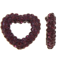 Rhinestone Clay Pave Beads, Heart, half-drilled, violet, 13x12x3mm, Hole:Approx 0.3-0.8mm, 5PCs/Bag, Sold By Bag