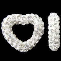Rhinestone Clay Pave Beads, Heart, half-drilled, white, 13x12x3mm, Hole:Approx 0.3-0.8mm, 5PCs/Bag, Sold By Bag
