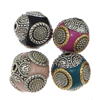 Indonesia Beads, with Zinc Alloy, Drum, plated, mixed colors, nickel, lead & cadmium free, 14.5-15x15mm, Hole:Approx 2mm, 100PCs/Lot, Sold By Lot