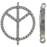 Zinc Alloy Connector, Peace Logo, platinum color plated, with rhinestone & 1/1 loop, nickel, lead & cadmium free, 24x30x4.50mm, Hole:Approx 1.5mm, 10PCs/Bag, Sold By Bag