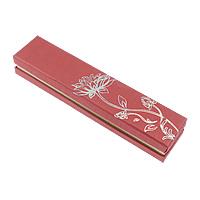 Kartonowe pudełko na naszyjnik, Tektura, ze Welwet, Prostokąt, z motywem kwiatowym, czerwony, 225x49x35mm, 50komputery/wiele, sprzedane przez wiele