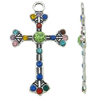 Zinc Alloy Cross Pendants, antique silver color plated, with rhinestone, nickel, lead & cadmium free, 30x49x4mm, Hole:Approx 4mm, 20PCs/Bag, Sold By Bag
