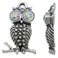 Zinc Alloy Animal Pendants, Owl, antique silver color plated, with rhinestone, nickel, lead & cadmium free, 15x25x5mm, Hole:Approx 2mm, 100PCs/Bag, Sold By Bag