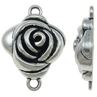 Flower Zinc Alloy Connector antique silver color plated 1/1 loop nickel lead   cadmium free 22x30x17mm Hole:Approx 2.5mm Approx 250PCs/KG