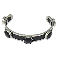 Stainless Steel Cuff Bangle, with Cowhide & Acrylic, faceted, black, 12mm, 12mm, Length:Approx 8 Inch, 5PCs/Lot, Sold By Lot