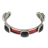 Stainless Steel Cuff Bangle with Cowhide   Acrylic faceted red 13.5mm 12mm Length:Approx 8 Inch 5PCs/Lot