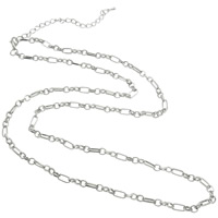 Iron Necklace Chain, zinc alloy lobster clasp, with 9.5 cm extender chain, platinum color plated, figaro chain, nickel, lead & cadmium free, 4x9x1.50mm, Length:Approx 14.5 Inch, 20Strands/Bag, Sold By Bag