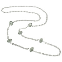 Iron Necklace Chain, with Crystal, platinum color plated, valentino chain, nickel, lead & cadmium free, 12x8mm, Length:Approx 15 Inch, 10Strands/Bag, Sold By Bag