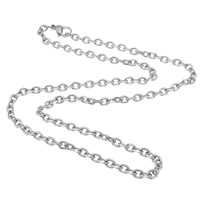 Stainless Steel Chain Necklace, 304 Stainless Steel, oval chain, original color, 5x3.50x1mm, Length:Approx 17.5 Inch, 50Strands/Lot, Sold By Lot