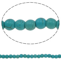 Turquoise Beads, Round, green, 6mm, Hole:Approx 1mm, Length:Approx 15.5 Inch, 10Strands/Lot, 71PCs/Strand, Sold By Lot