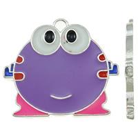 Zinc Alloy Animal Pendants, Frog, platinum color plated, enamel, purple, nickel, lead & cadmium free, 27x24x2mm, Hole:Approx 2mm, 20PCs/Bag, Sold By Bag