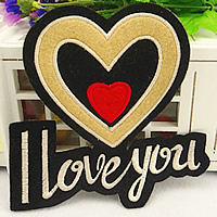 Iron on Patches, Cloth, Heart, 130x130mm, 100PCs/Lot, Sold By Lot