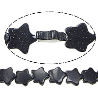 Blue Goldstone Beads, Star, 10x10x2.50mm, Hole:Approx 0.5mm, Length:Approx 16 Inch, 10Strands/Lot, Approx 46PCs/Strand, Sold By Lot