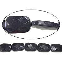 Blue Goldstone Beads, Rectangle, faceted, 25x18x7mm, Hole:Approx 2mm, Length:Approx 16 Inch, 5Strands/Lot, Approx 16PCs/Strand, Sold By Lot