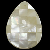 Natural White Shell Pendants, Teardrop, mosaic, 28.50x39.50x7.50mm, Hole:Approx 1.5mm, 10PCs/Lot, Sold By Lot