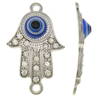 Hamsa Zinc Alloy Connector, with Lampwork, Evil Eye Hamsa, platinum color plated, Jewish  Jewelry & Islamic jewelry & with rhinestone & 1/1 loop, lead & cadmium free, 21x35x5mm, Hole:Approx 2.5mm, 10PCs/Bag, Sold By Bag