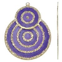 Moda wisiorki żelaza, żelazo, Płaskie koło, Platerowane w kolorze złota, emalia, fioletowy, bez zawartości niklu, ołowiu i kadmu, 48x62x1mm, otwór:około 2mm, 10komputery/torba, sprzedane przez torba