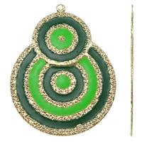 Moda wisiorki żelaza, żelazo, Płaskie koło, Platerowane w kolorze złota, emalia, zielony, bez zawartości niklu, ołowiu i kadmu, 48x63x1mm, otwór:około 2mm, 10komputery/torba, sprzedane przez torba