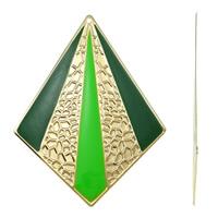 Moda wisiorki żelaza, żelazo, Romb, Platerowane w kolorze złota, emalia, zielony, bez zawartości niklu, ołowiu i kadmu, 64x85x1mm, otwór:około 2mm, 10komputery/torba, sprzedane przez torba