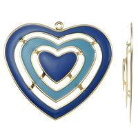Moda wisiorki żelaza, żelazo, Serce, Platerowane w kolorze złota, emalia, niebieski, bez zawartości niklu, ołowiu i kadmu, 56x52x4mm, otwór:około 2mm, 10komputery/torba, sprzedane przez torba