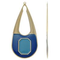 Moda wisiorki żelaza, żelazo, Łezka, Platerowane w kolorze złota, emalia, niebieski, bez zawartości niklu, ołowiu i kadmu, 34x80x1mm, otwór:około 1.5mm, 10komputery/torba, sprzedane przez torba