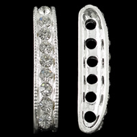 Zinc Alloy Spacer Bar, silver color plated, 6-strand & with rhinestone, nickel, lead & cadmium free, 5x29x7mm, Hole:Approx 2mm, 10PCs/Bag, Sold By Bag