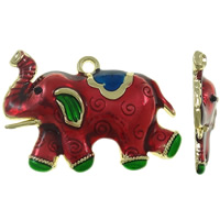 Zinc Alloy Animal Pendants, Elephant, gold color plated, enamel, red, lead & cadmium free, 57x48.50x8mm, Hole:Approx 4mm, Sold By PC