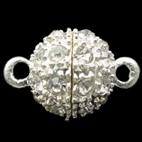 Zinc Alloy Magnetic Clasp, Round, silver color plated, with rhinestone & single-strand, nickel, lead & cadmium free, 16x10mm, Hole:Approx 1.5mm, 10PCs/Bag, Sold By Bag
