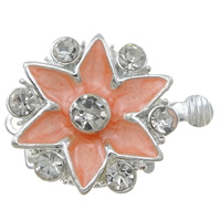 Zinc Alloy Box Clasp, Flower, silver color plated, enamel & with rhinestone & single-strand, nickel, lead & cadmium free, 20x16x7.50mm, Hole:Approx 1.5mm, 10PCs/Bag, Sold By Bag