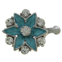 Zinc Alloy Box Clasp, Flower, platinum color plated, enamel & with rhinestone & single-strand, nickel, lead & cadmium free, 20x16x7.50mm, Hole:Approx 1.5mm, 10PCs/Bag, Sold By Bag