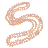 Natural Freshwater Pearl Necklace 2-strand pink 4-8mm Sold Per Approx 48.5 Inch Strand