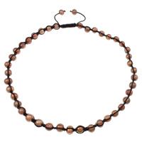 Пресноводные жемчуги Шамбала-ожерелье, с вощеный шнур, цвет красный кофе, 8-9mm, Продан через Приблизительно 23.5 дюймовый Strand